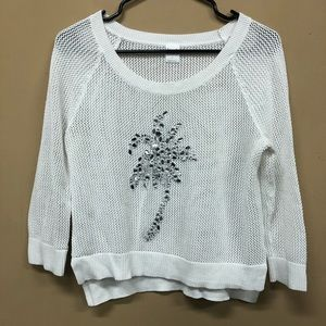 Inc Beach White Sweater Palm Tree In Jewels Bling